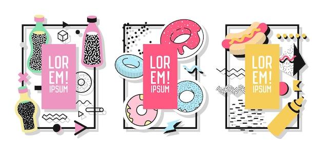 Geometryczne ramki z abstrakcyjnymi elementami i słodkim jedzeniem. nowoczesna grafika artystyczna na ulotki, plakaty, banery, afisze, broszury z miejscem na tekst. ilustracja wektorowa