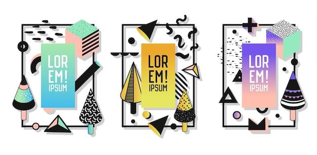 Geometryczne ramki z elementami abstrakcyjnymi. nowoczesna grafika artystyczna na ulotki, plakaty, banery, afisze, broszury z miejscem na tekst. ilustracja wektorowa