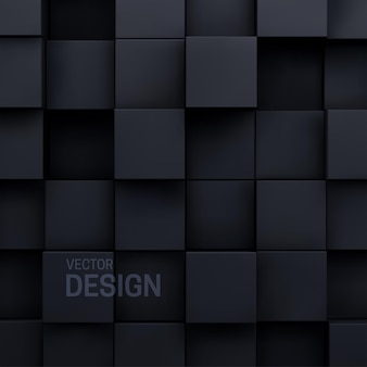 Geometryczne streszczenie tło czarne losowe kształty sześcienne