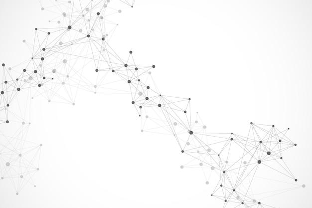 Geometryczne streszczenie tło z połączoną linią i kropkami. tło sieci i połączenia do prezentacji. graficzne tło wielokątne. ilustracja wektorowa naukowej.