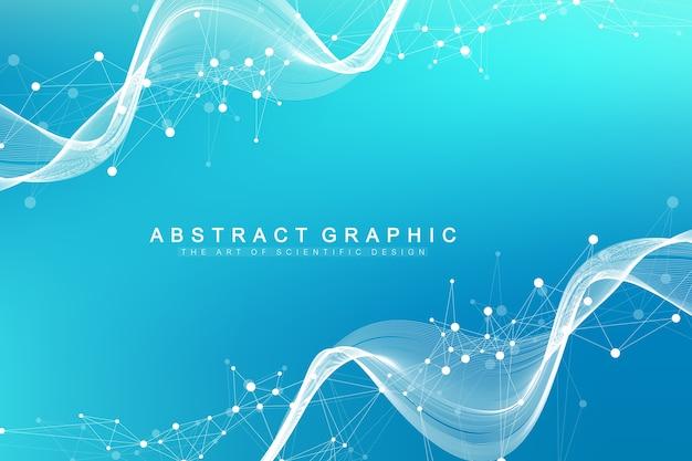Geometryczne streszczenie tło z połączoną linią i kropkami. tło sieci i połączenia do prezentacji. przepływ fal.