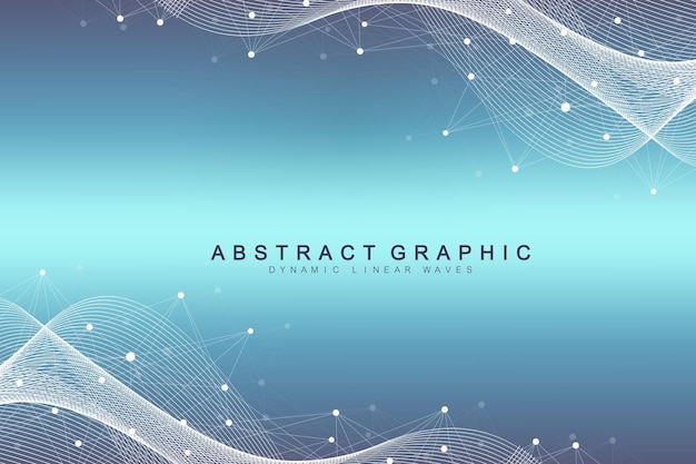 Geometryczne streszczenie tło z połączonych linii i kropek. przepływ fal. tło molekularne i komunikacyjne. tło graficzne dla swojego projektu. ilustracja wektorowa.