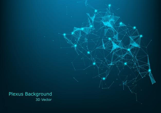 Geometryczne streszczenie tło z połączonych linii i kropek. wizualizacja dużych danych. wektor globalnego połączenia sieciowego.