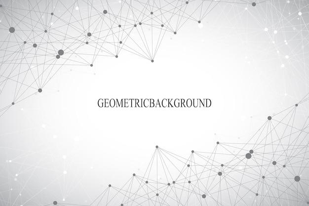 Geometryczne szare tło cząsteczki i komunikacja. połączone linie z kropkami. ilustracja wektorowa.