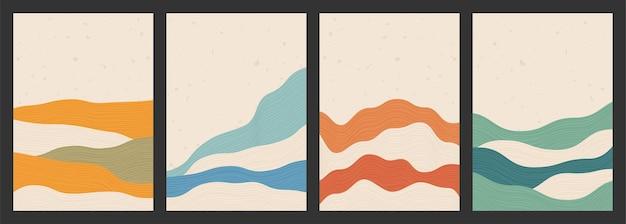 Geometryczne tła z abstrakcyjnymi wzorami fali linii z górami w stylu japońskim