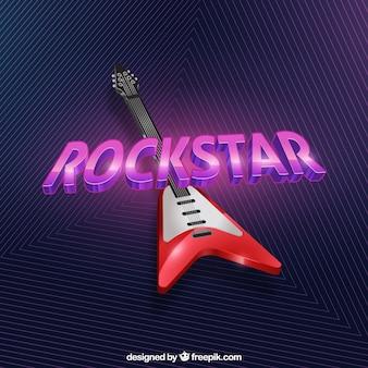 Geometryczne tła z czerwoną gitara elektryczna