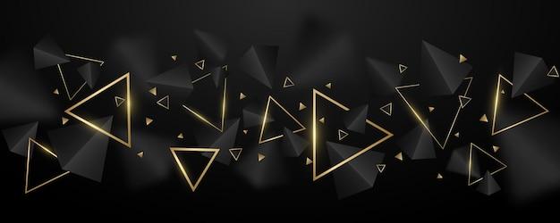 Geometryczne tło 3d, czarne i złote trójkąty. stylowy projekt szablonu, okładki, banera, broszury. wielokątne kształty z rozmyciem. ilustracja wektorowa. eps 10
