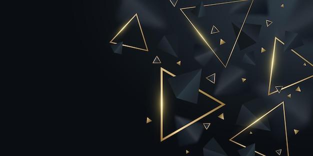 Geometryczne tło czarne i złote trójkąty 3d. stylowy projekt szablonu, okładki, banera, broszury. dekoracyjne, wielokątne kształty z rozmyciem. ilustracja wektorowa. eps 10