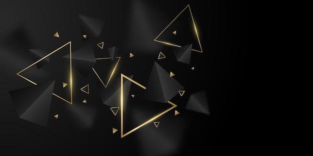 Geometryczne tło czarnych i złotych trójkątów. stylowy projekt szablonu, okładki, banera, broszury. wielokątne kształty z rozmyciem. ilustracja wektorowa. eps 10