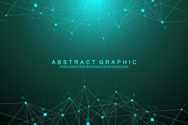 Geometryczne tło graficzne cząsteczki i komunikacja. kompleks big data ze związkami. koncepcja sztucznej inteligencji i uczenia maszynowego. naukowa ilustracja wektorowa cybernetyczne.
