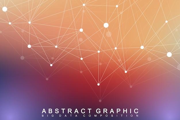 Geometryczne tło graficzne cząsteczki i komunikacja. kompleks big data ze związkami. tło perspektywy. minimalna tablica. wizualizacja danych cyfrowych. naukowa ilustracja wektorowa cybernetyczne.