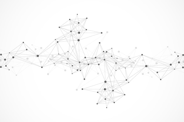 Geometryczne tło graficzne cząsteczki i komunikacja. połączone linie z kropkami. minimalizm chaotyczne tło ilustracji. pojęcie nauki, chemii, biologii, medycyny, technologii, wektora
