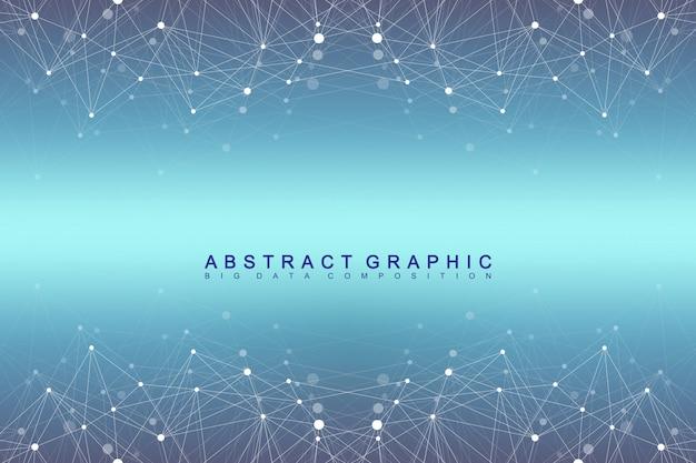 Geometryczne tło graficzne cząsteczki i komunikacji. kompleks big data ze związkami. cyfrowa wizualizacja danych. naukowa cybernetyczna wektorowa ilustracja.