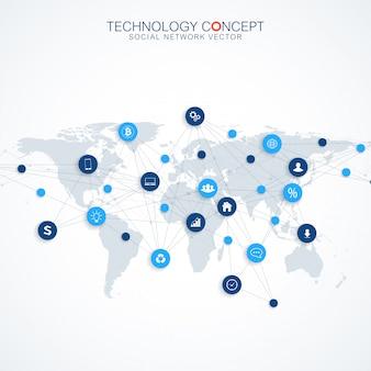 Geometryczne tło graficzne komunikacji. cloud computing i koncepcja globalnej sieci połączeń. kompleks big data ze związkami. cyfrowa wizualizacja danych. cybernetyczny naukowy.