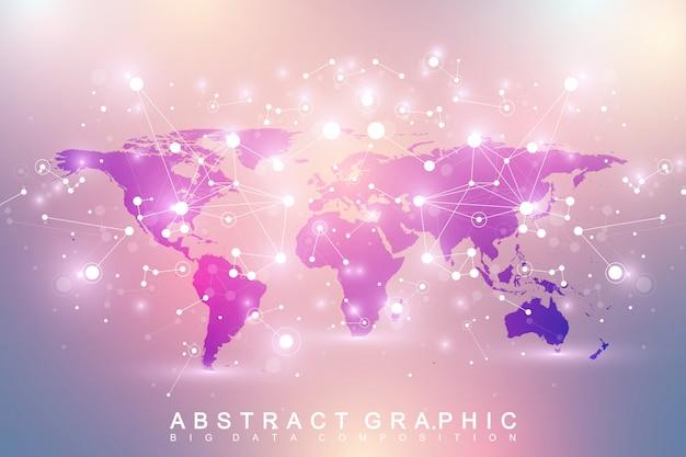 Geometryczne tło graficzne komunikacji z polityczną mapą świata. kompleks big data ze związkami. perspektywa minimalna tablica. cyfrowa wizualizacja danych. naukowa ilustracja cybernetyczna.