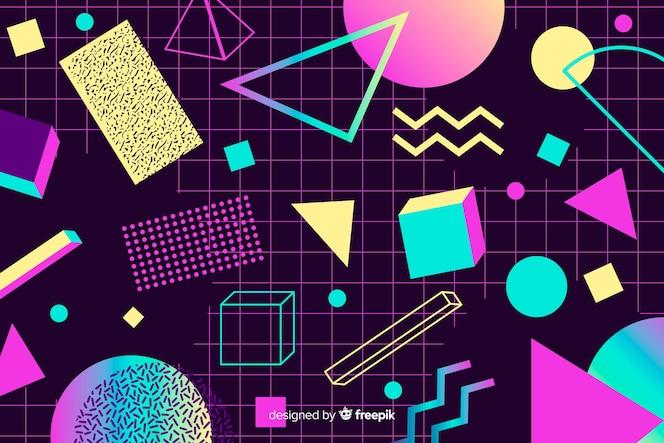 Geometryczne tło lat 80-tych o różnych kształtach