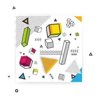 Geometryczne tło pop-artu z kolorowymi elementami graficznymi.