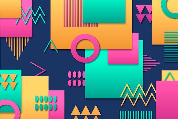 Geometryczne tło z różnymi kolorowymi kształtami