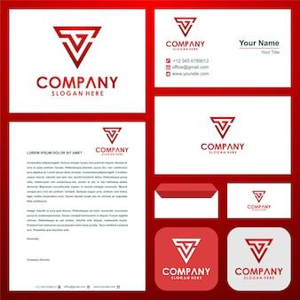 Geometryczne trójkątne logo gv