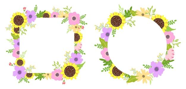 Geometryczne wektor ręcznie rysowane zestaw klatek kwiatowy