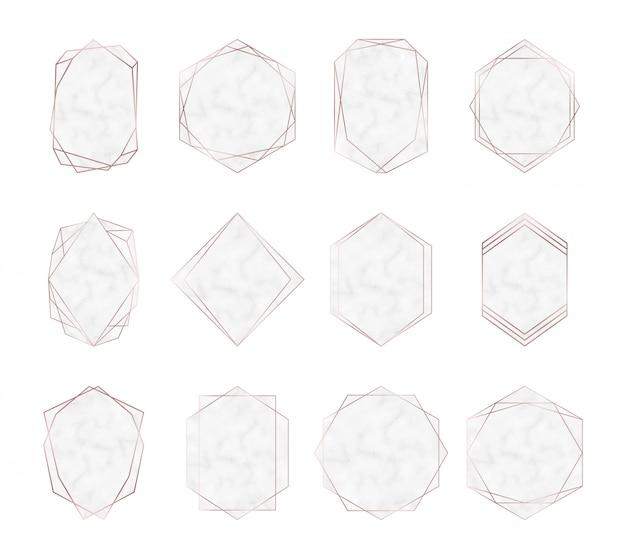 Geometryczne wielokątne marmurowe ramki w kolorze różowego złota.