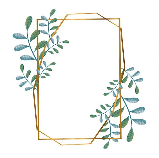 Geometryczne wielokątne ramki ze złotymi liniami i liśćmi