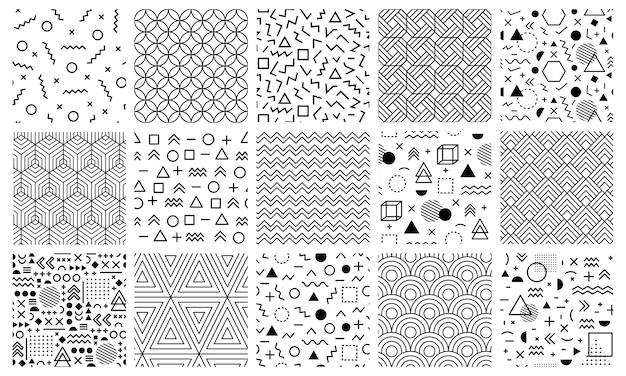 Geometryczne wzory memphis. bezszwowe abstrakcyjne wzory labiryntu, styl memphis wzór, geometryczny doodle zestaw ilustracji tła. modny wzór geometryczny memphis