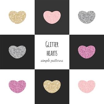 Geometryczne wzory z brokatowymi sercami: złoty, różowy, srebrny.