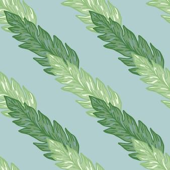 Geometryczne zielone liście wzór onlight niebieskie tło. piękne tapety w kwiaty. do projektowania tkanin, drukowania tekstyliów, pakowania, okładek. współczesna ilustracja wektorowa