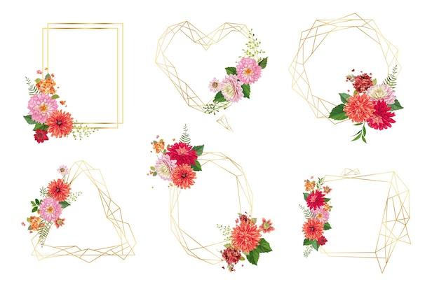 Geometryczne zielone ramki z kwiatami