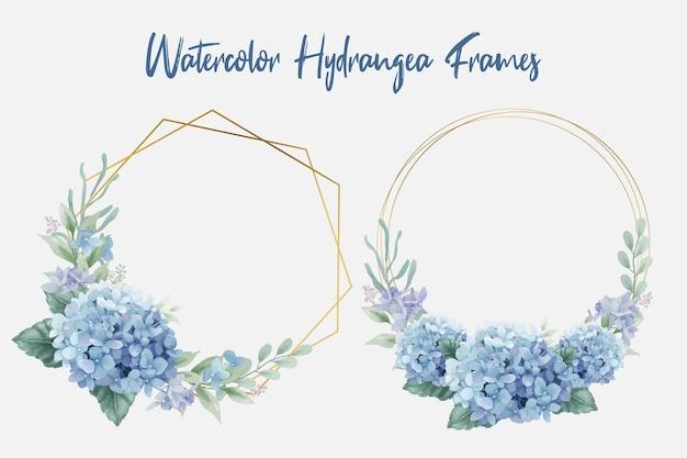 Geometryczne złote ramki z akwarelowymi kwiatami hortensji