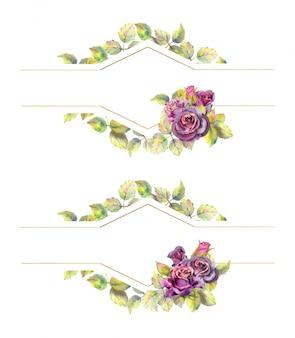 Geometryczne złote ramki z kwiatami róży. kompozycja akwarela