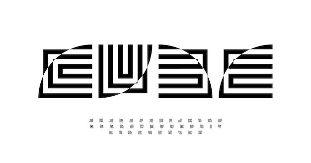 Geometryczny abstrakcyjny alfabet dekoracyjne litery zniekształcony kwadratowy typ dla nowoczesnej mody lub