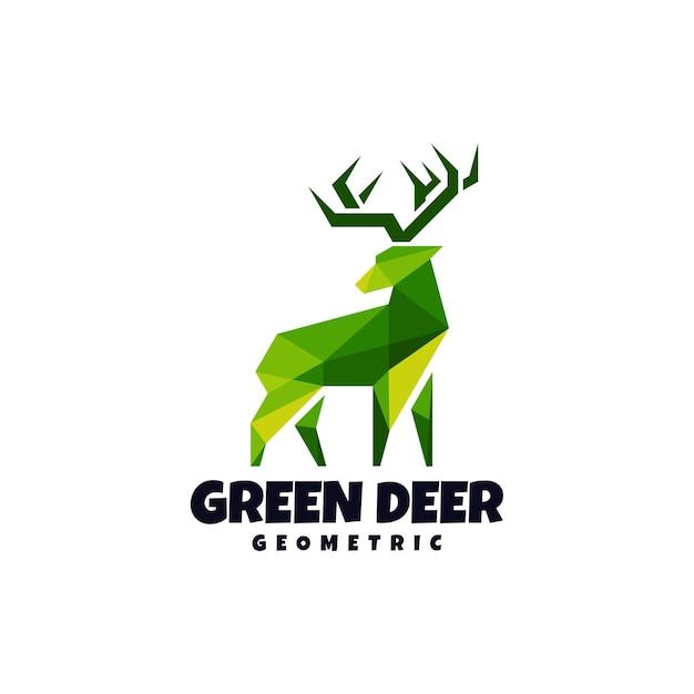 Geometryczny abstrakcyjny zielony jeleń na białym tle szablon logo