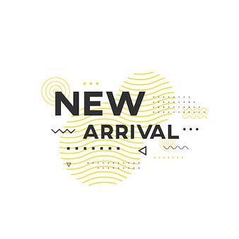 Geometryczny baner new arrival. modny kształt wzoru mempis.