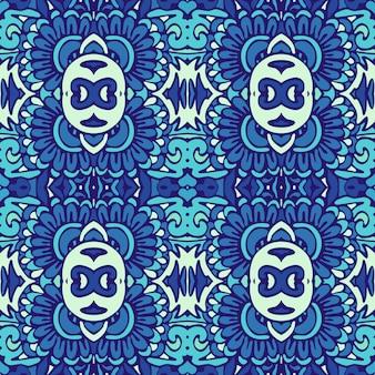 Geometryczny bezszwowy dekoracyjny wzór z niebiesko-białych płytek orientalnych, ozdoby.