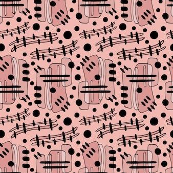 Geometryczny dynamiczny wzór w zakreślonych i obrysowanych kształtach. powtarzający się wzór na tekstylia i modne tkaniny.