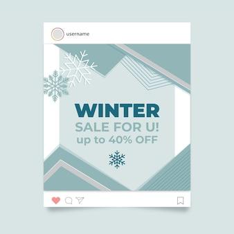 Geometryczny elegancki zimowy post na instagramie