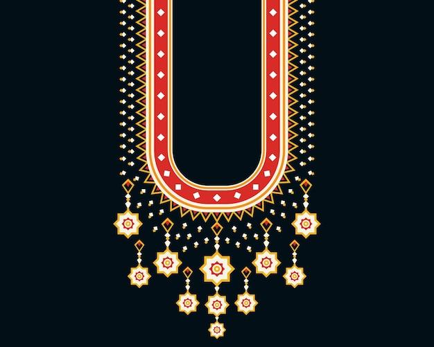 Geometryczny etniczny orientalny wzór naszyjnik haft projekt