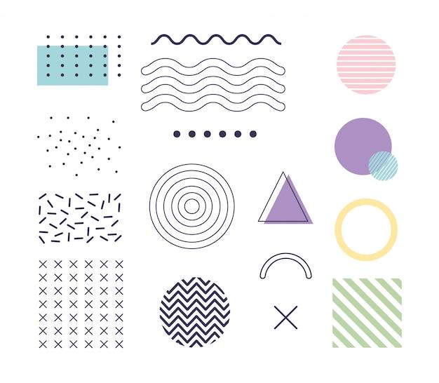 Geometryczny kształt elementów projekt memphis lata 80. 90. styl streszczenie biały