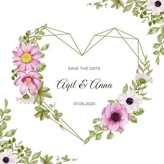 Geometryczny kształt miłości z pięknymi różowymi kwiatami i akwarelą liści zieleni
