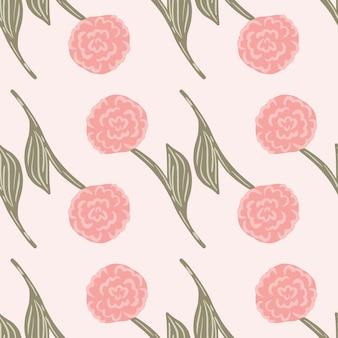 Geometryczny kwiatowy ogród wzór z czerwonymi różami sylwetki. pastelowe różowe tło. projekt wektor dla tekstyliów, tkanin, prezentów, tapet.