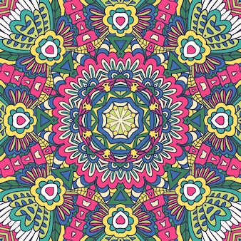 Geometryczny medalion kwiatowy ozdoby retro