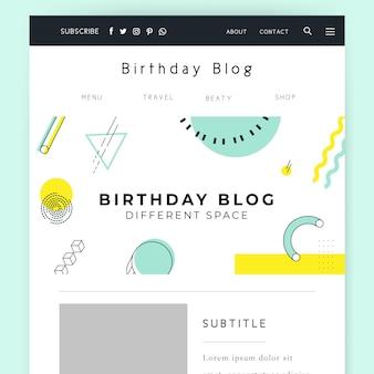 Geometryczny minimalistyczny nagłówek bloga urodzinowego