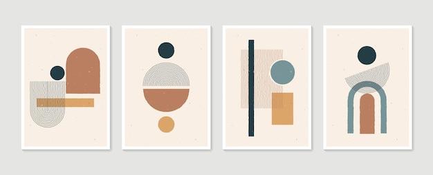 Geometryczny modny zestaw abstrakcyjnych, estetycznych, minimalistycznych, ręcznie rysowanych współczesnych plakatów