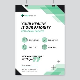 Geometryczny monokolorowy plakat medyczny