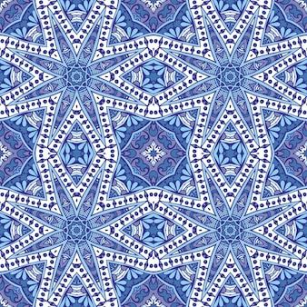 Geometryczny niebieski i biały wzór ceramiczny
