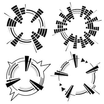 Geometryczny okrągły korektor neonowy. eq okrągłe fale dźwiękowe. okrągła skala korektora muzycznego.