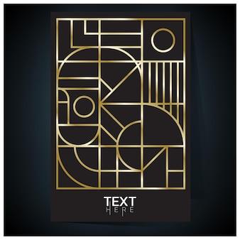Geometryczny plakat w odcieniach złota z gradientową siatką