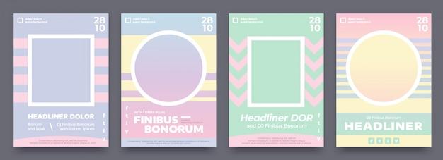 Geometryczny plakat w pastelowych letnich kolorach, 4 różne ulotki, projekt zaproszenia na wydarzenie lub koncert muzyczny. szablon plakatu fioletowy, niebieski, jasnozielony i pomarańczowy z miejscem na zdjęcie lub obraz.